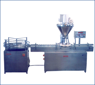 Automatic Powder filling machine with turn table and conveyor
